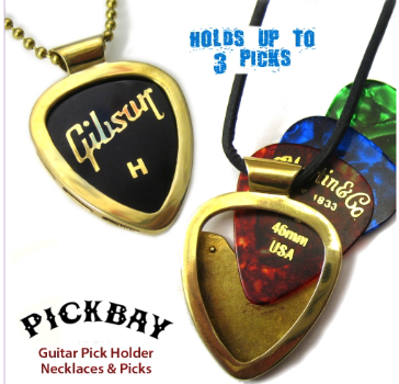 Gibson Guitar Picks Player/'s Gift Set PICKBAY Guitar pick holder NECKLACE