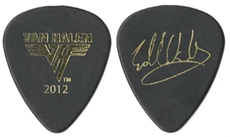 van halen eddie guitar pick 2012 tour signature black gold pickbay. Black Bedroom Furniture Sets. Home Design Ideas